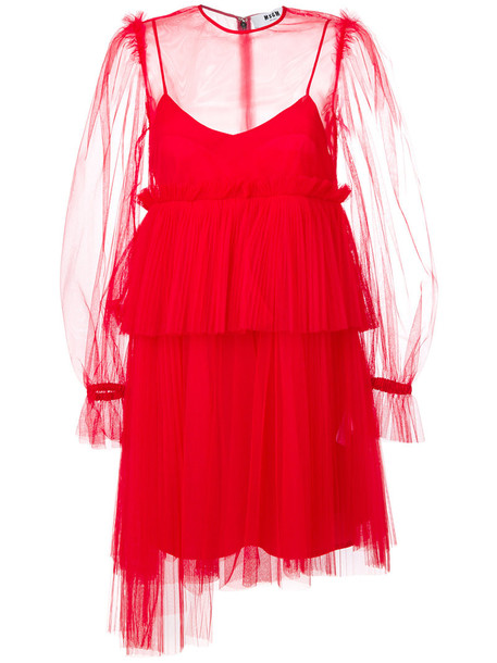 MSGM dress sheer women red