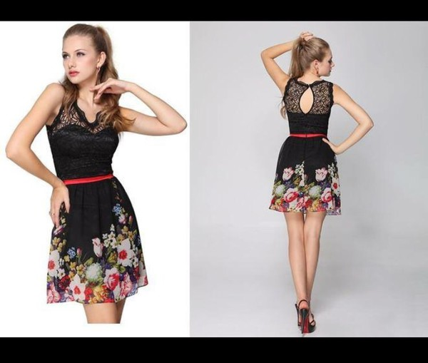 Ever Pretty Empire Line Floral Printed Blacks Cocktail Casual ...