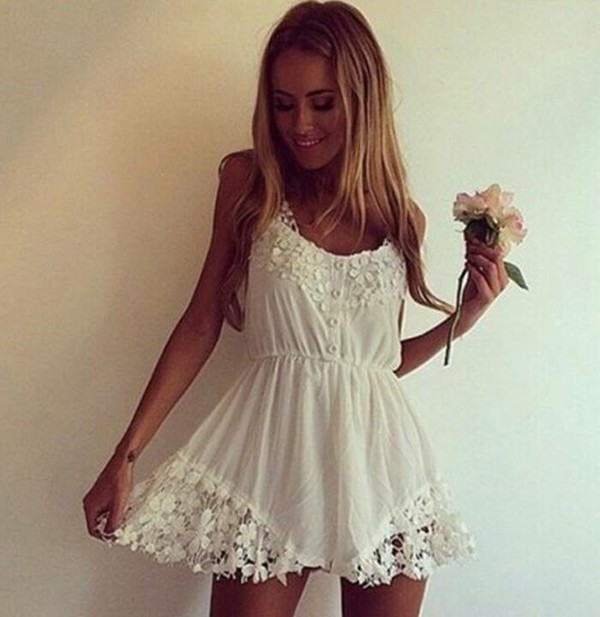 romper white lace summer dress