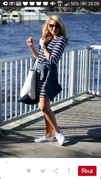dress striped dress striped blue and white white converse
