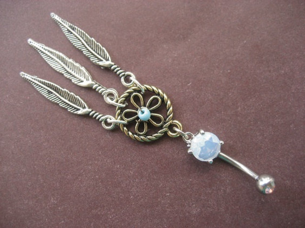 jewels silver dreamcatcher feathers blue stone belly button ring