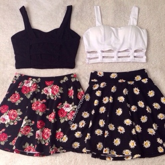 skirt black crop top black top white top white crop tops flower skater skirt tank top