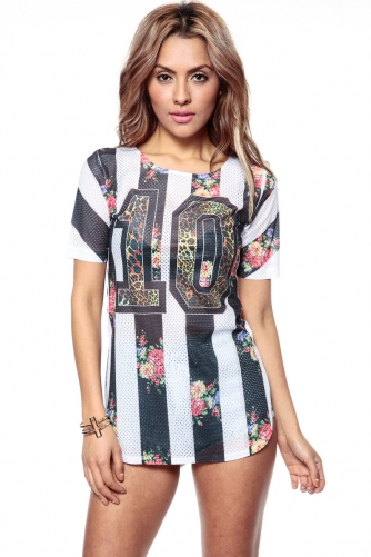 Floral Stripes Jersey Tee