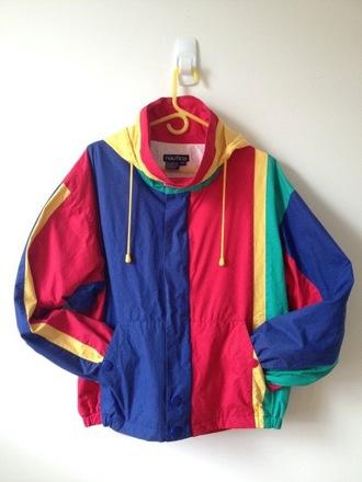 jacket sweater 80s style colorblock coat primary colours windbreaker
