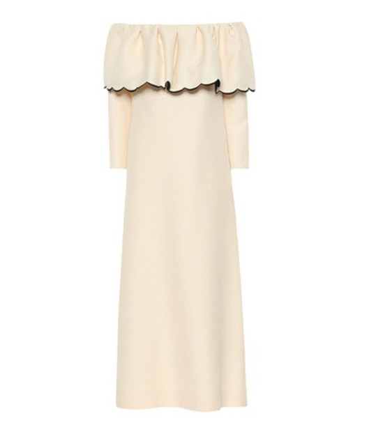 Valentino Off-the-shoulder crêpe dress in white