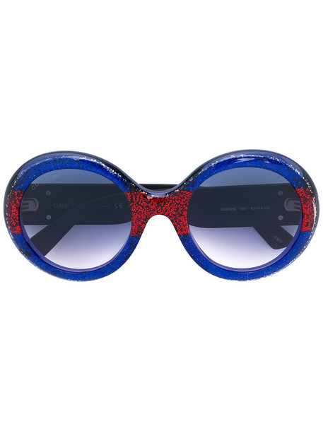 Gucci Eyewear - round-frame sunglasses - women - Acetate - One Size, Blue, Acetate