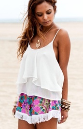 shorts,blouse,multi coloured,fringes,holiday shorts
