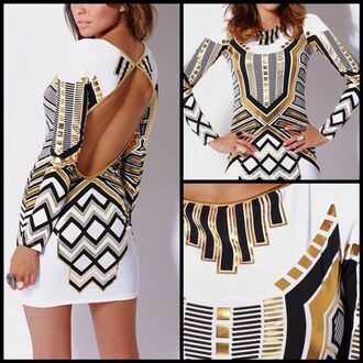 tumblr black dress fashion gold style white tribal pattern mini dress sexy sexy dress beauty fashion shopping beauty shopping boutiques