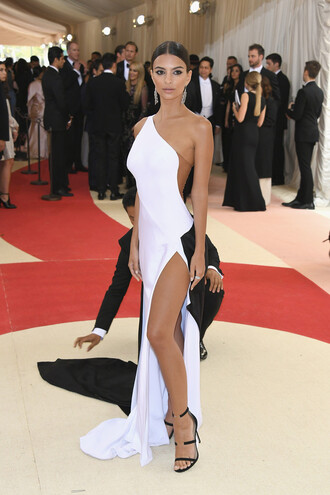 shoes sandals black and white asymmetrical dress emily ratajkowski slit dress gown prom dress met gala metgala2016