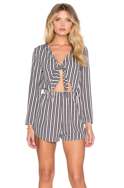 Oh My Love romper tie front blue