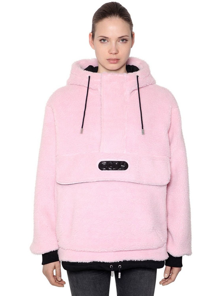 GCDS Hooded Faux Fur Anorak W/ Logo Patch in pink