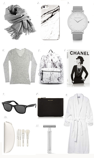 fashion landscape blogger scarf jewels sweater marble book backpack holiday gift bag grey watch grey scarf grey sweater chanel rayban clutch