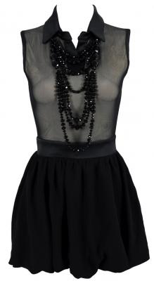 Clothing : Structered Dresses : 'Azealia' Black Mesh Tulip Shaped Collar Dress w Detachable Necklace