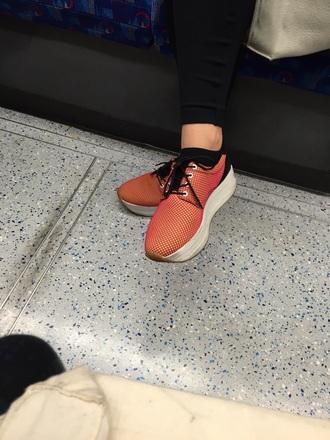 shoes red orange mesh trainer platformm