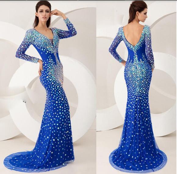 long sleeve dress prom dress mermaid prom dresses crystal prom dresses