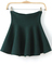 Green high waist ruffle flare skirt