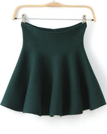 Green high waist ruffle flare skirt