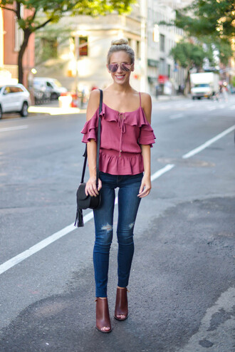 katie's bliss - a personal style blog based in nyc blogger bag shoes pink top off the shoulder ruffle skinny jeans black bag shoulder bag
