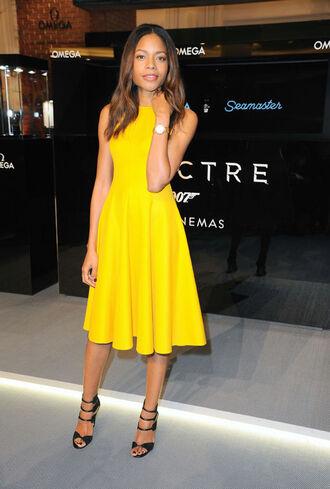dress yellow dress yellow sandals naomie harris mid heel sandals