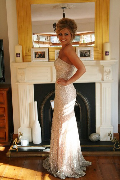 long dress gown floor length prom dress with beadings and sequins