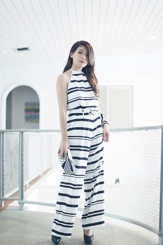 brown platform blogger top pants jumpsuit stripes clutch