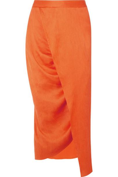 Sies Marjan - Exclusive Wrap-effect Plissé Silk-satin Midi Skirt - Orange