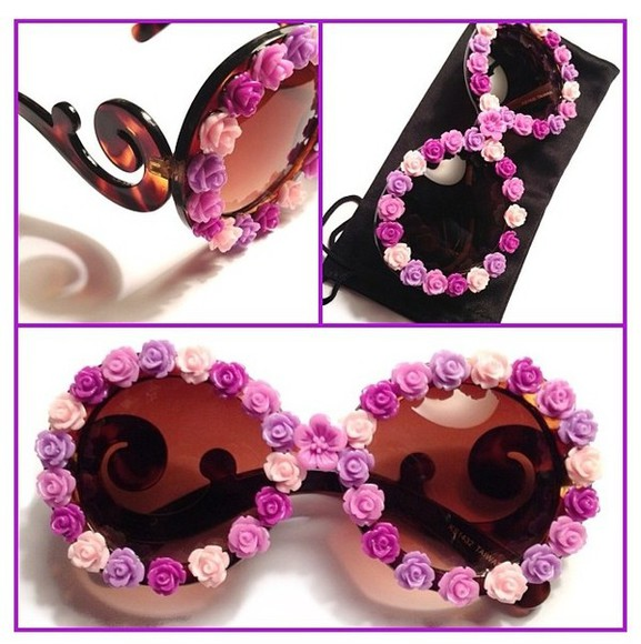 sunglasses flowers round cute hipster purple pink awesome adorable die for
