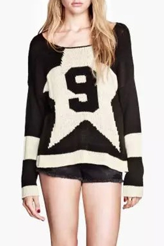 sweater casual fall outfits sporty black white fashion style number long sleeves winter outfits
