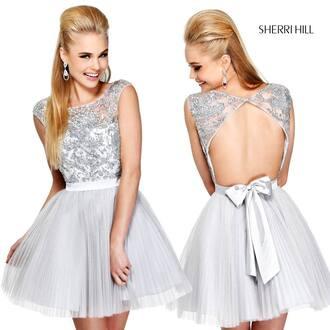 dress white sherri hill prom dress short dress light blue