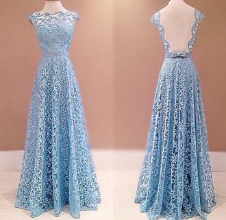dress blue dress open back prom dress lace dress