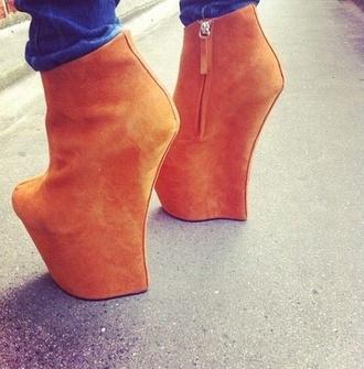 shoes unique shoes heels natural color zip pumps high heels