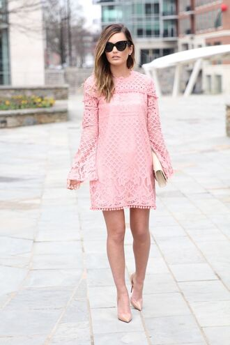 for all things lovely blogger dress shoes bag sunglasses jewels pink dress nude heels long sleeves lace dress clutch mini heels mini dress office outfits date outfit
