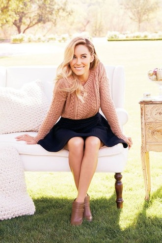 sweater lauren conrad skirt boots ankle boots fall outfits