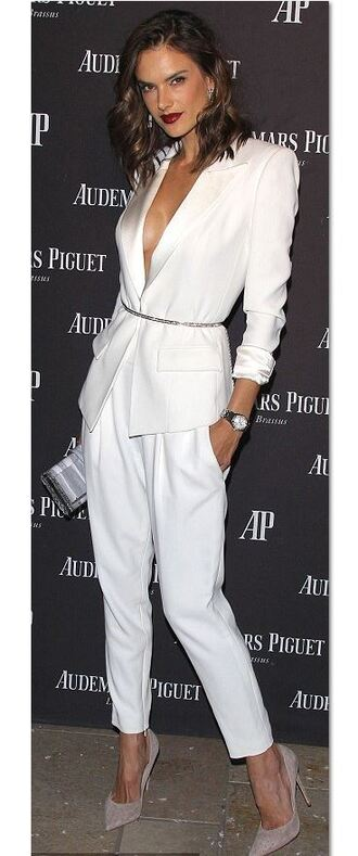 jacket suit white white pants all white everything alessandra ambrosio fall outfits
