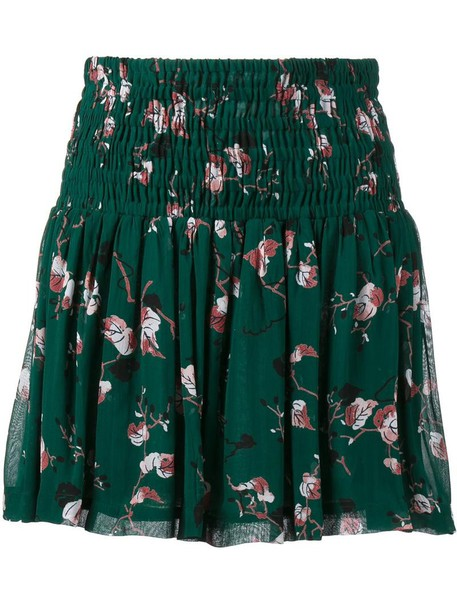 Ganni skirt women print green leaves