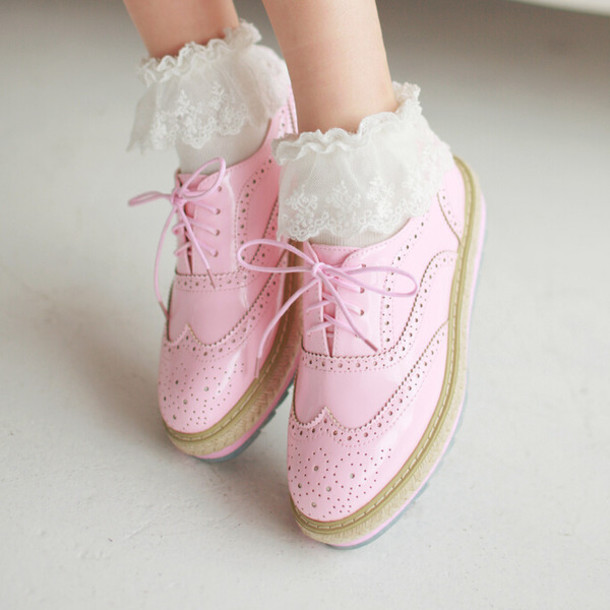 Shoes Kawaii Fashion Cute Pink Pink Shoes Oxfords