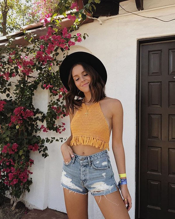 pants top shorts denim shorts orange top hat felt hat black hat High waisted shorts