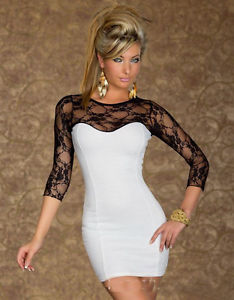 Women Slim Round Collar Lace Splice 3 4 Long Sleeve Mini Dress Clubwear | eBay