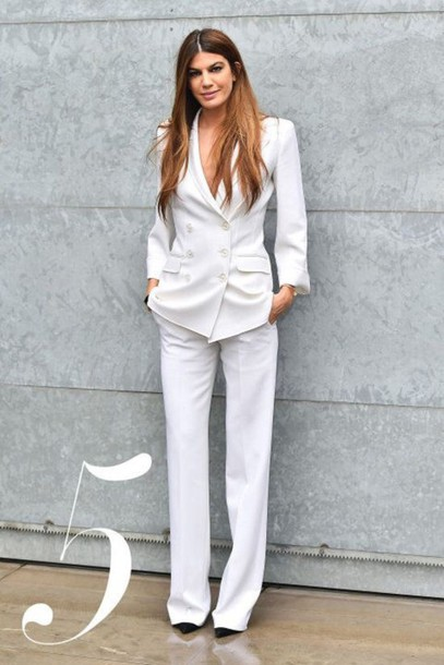 3eb46a182ed6 pants white pants suit pants blazer white blazer womens suit all white  everything spring outfits office