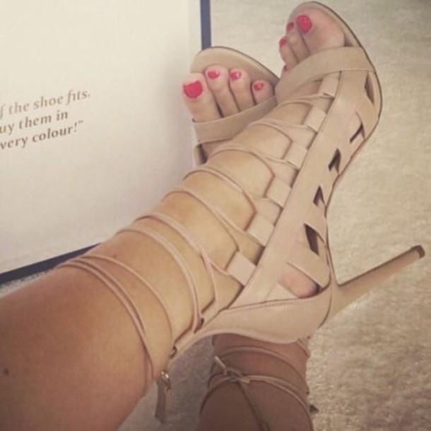 cea4c1d3679 shoes ankle strap heels high heel sandals brown high heels cream high heels  strappy strappy shoes