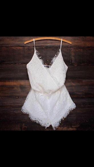 jumpsuit white lace playsuit romper white
