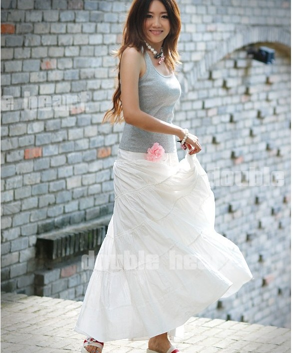 Purpose t/c long skirt white