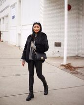 bag,chanel bag,black boots,leather leggings,black fur jacket,sweater,winter outfits