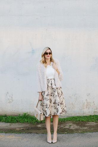 a little dash of darling blogger roses fuzzy coat midi skirt skirt jacket top bag sunglasses