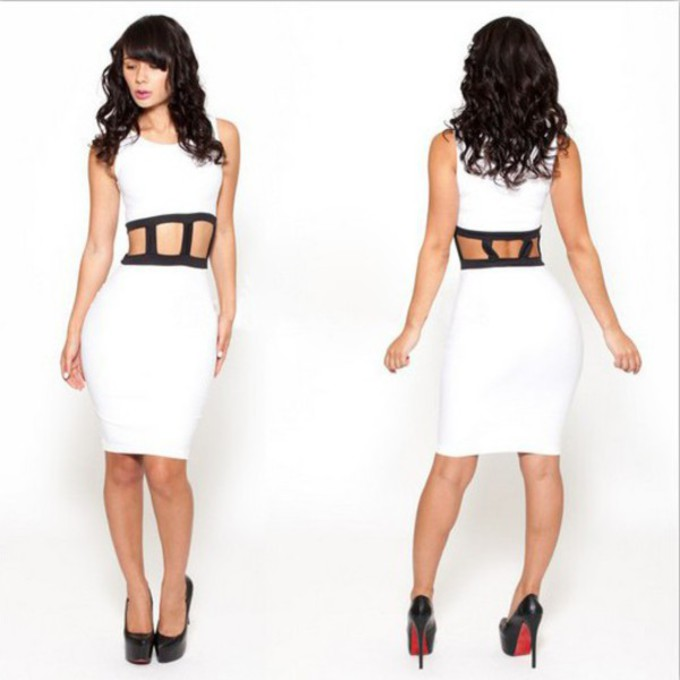 open middle white dress bodycon dress dress short dress slim dress open stomach caged dress the middle