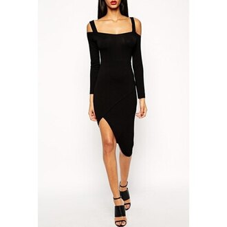dress assymetrical zipper black dress black casual casual dress off the shoulder asymmetrical high low dress back to school all black everything
