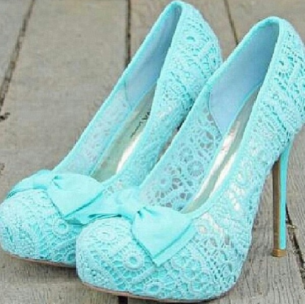 shoes bows high heels lace light blue