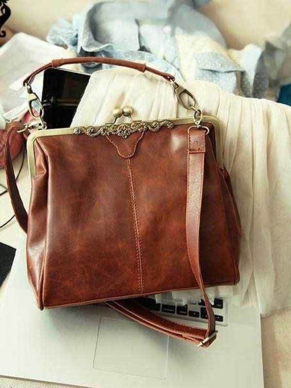 bag vintage vintage bag bown messenger bag purse brown lether bag