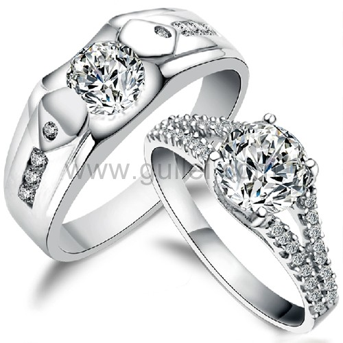 Sterling Silver Cubic Zirconia Personalized Wedding Rings Set for