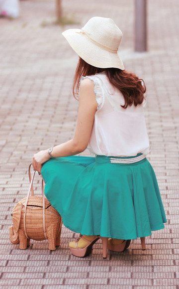 mellow mayoness pearls blue skirt